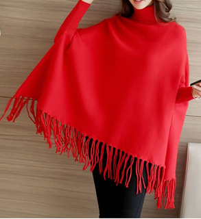 PK17ST382 Long Sleeve Wool Cashmere Poncho Sweater with Tassels for Women