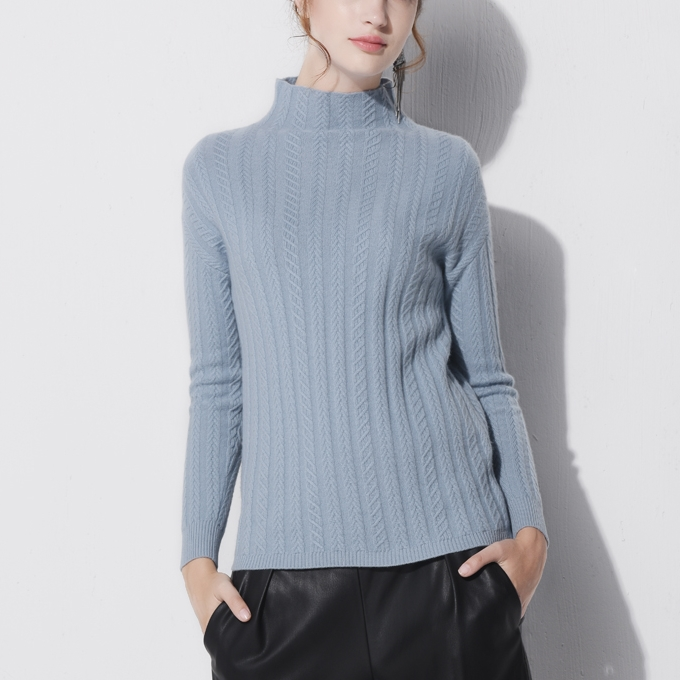 P18B090CH factory classic women fine knit cashmere cable half high neck long sleeve pullover sweater