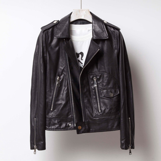 P18E093BE women autumn winter costume classic fashion sheepskin leather motorcycle biker jacket