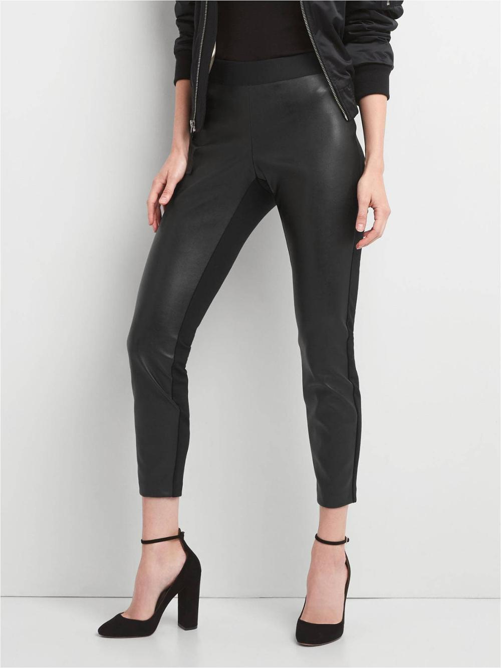 P18E021BW Hot sale fashion classic sexy tight leather pants for women all seasons leather front leggings custom