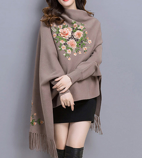 P18C30TR high quality wool cashmere poncho scarf knitted cover-up with tassels and embroidery