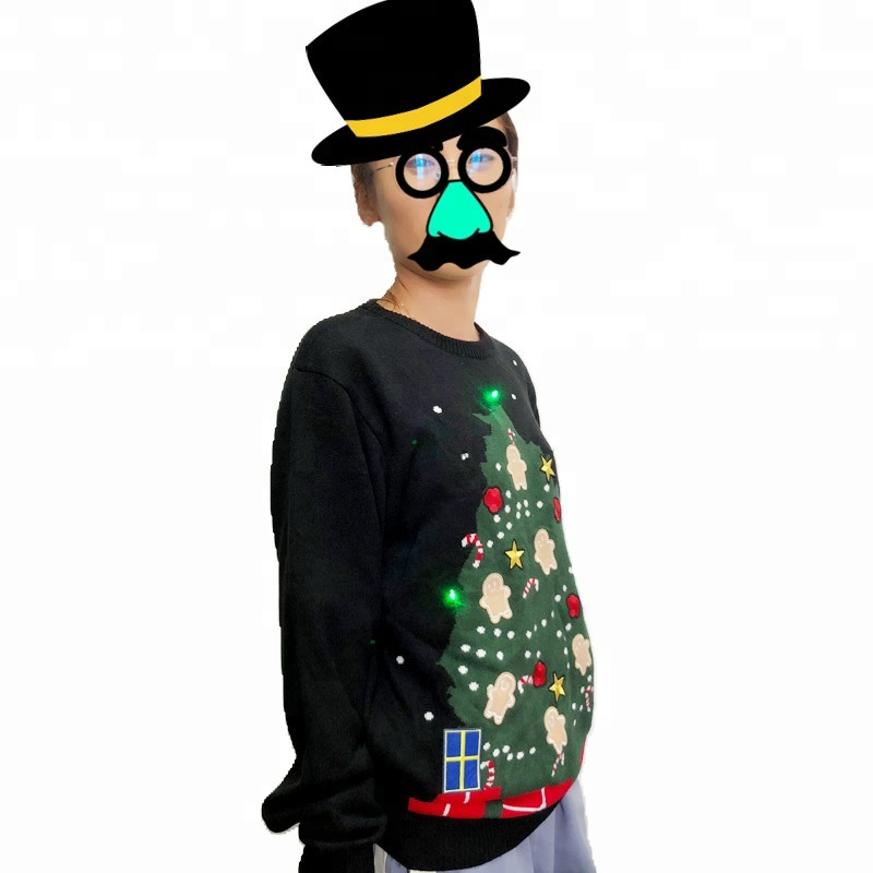 Unisex adults sequin embroidery patch christmas jumpers sweaters