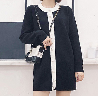 PK18ST078 White And Black Colour Block Women Dresses Cardigan Sweaterfashion Dress Cashmere Sweater