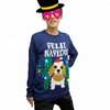 Unisex adults OEM polyester or acrylic LED lights cartoon dog christmas pullover sweater