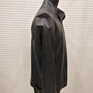 P18E027BE men special pattern unique punching leather zipper jacket clothes