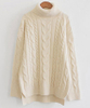 PK18ST030 Creamy Turtle Neck Cable Knitted Swesater for Women