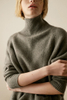 P18B07TR 100% cashmere high neck loose knitted lady pullover sweater