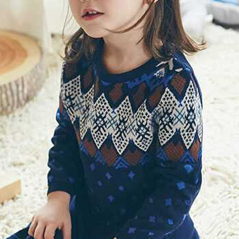 P18B177BE girls autumn winter knitted cotton cashmere smart long sleeve christmas knitted dress
