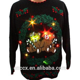 14STC8059 2017 new fashon led light sweater for christmas