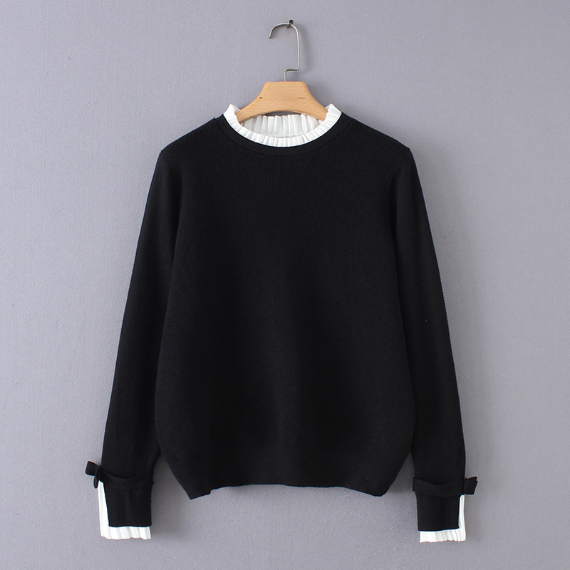 2019SS ladies wool cashmere knitted jumpers sweater patchworks on collar sleeve