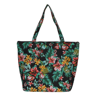 Eco-friendly flower printed tote 600d polyester bag