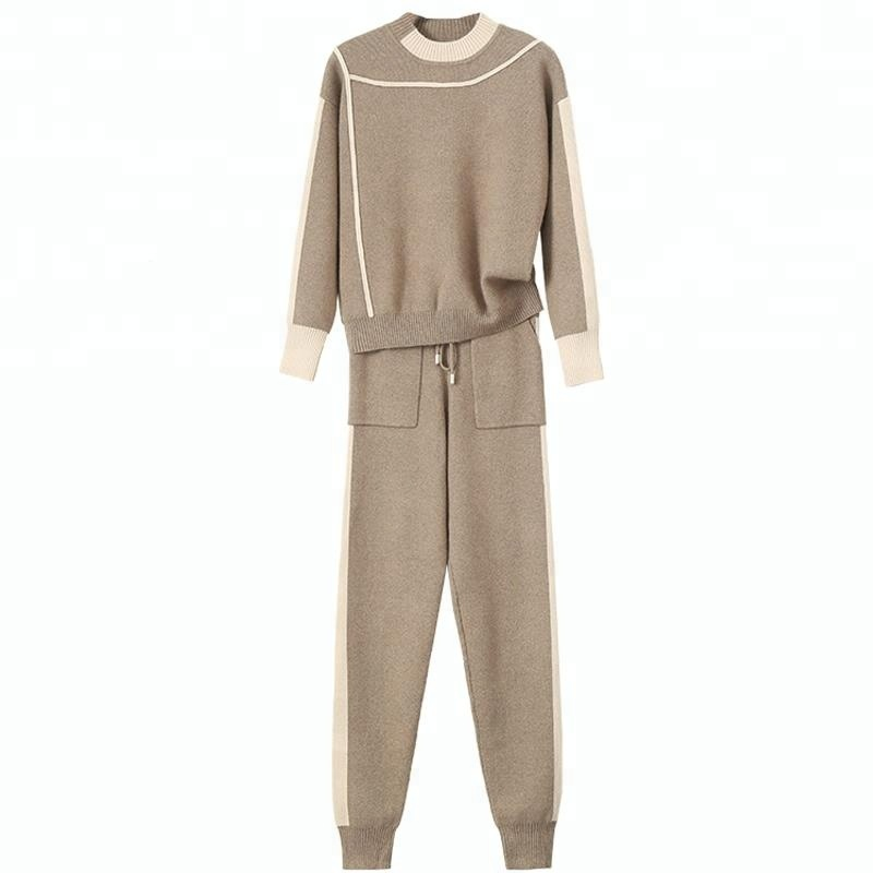 Women's winter costume knitted contract color sports fashion pants suits
