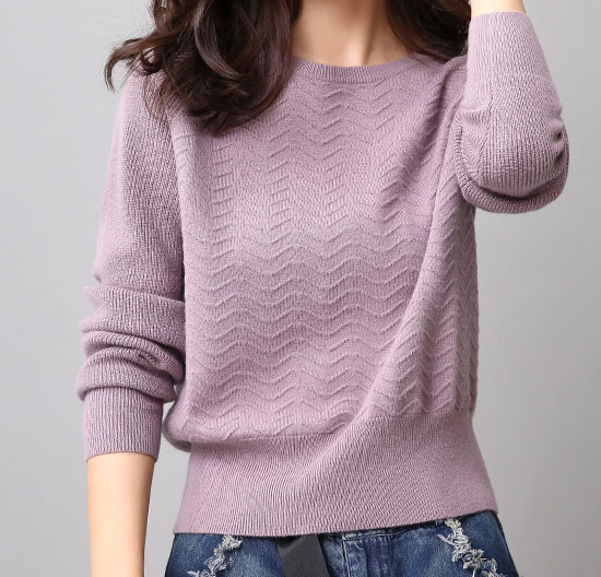 PK18ST070 Wave Pattern 100% Merino Wool Sweater for Women