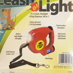 Pet Retractable Dog Leash LED Flashlight Waste Bags Dispenser