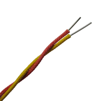 High temperature fiberglass insulated twisted pair thermocouple extension wire-- Single pair, Twisted