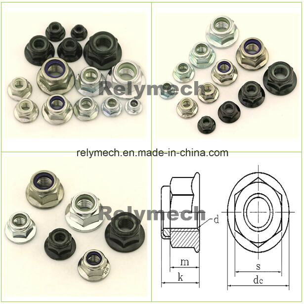 Stainless Steel/Carbon Steel Nylon Insert Hex Flange Lock Nut