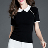 P18B062CH classic women knit polo neck short sleeves cotton sweater T shirt