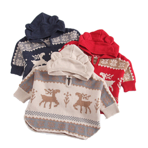 P18B038BE kids autumn winter knitted merino wool cute jacquard design cloak shawl