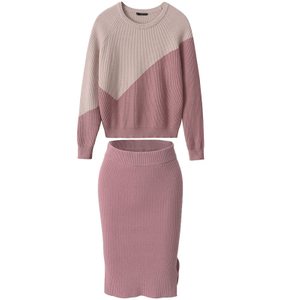 P18B062BE women's winter cashmere sports fashion sweater and skirt suits