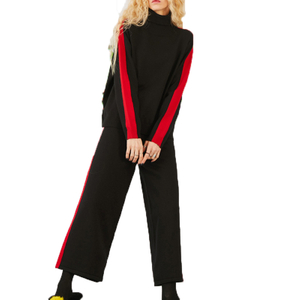 Women's winter cashmere sports fashion contract color turtle neck sweater and pants suits