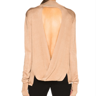P18B054CH Woman silk cashmere spring autumn sexy knit long sleeves bare back pullover sweater with thumb hole