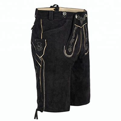 P18E037BE men traditional leather trousers Lederhosen short embroidery classic pants with suspenders