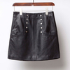 P18E095BE women solid mini slim fit sheepskin big pocket leather skirt with button