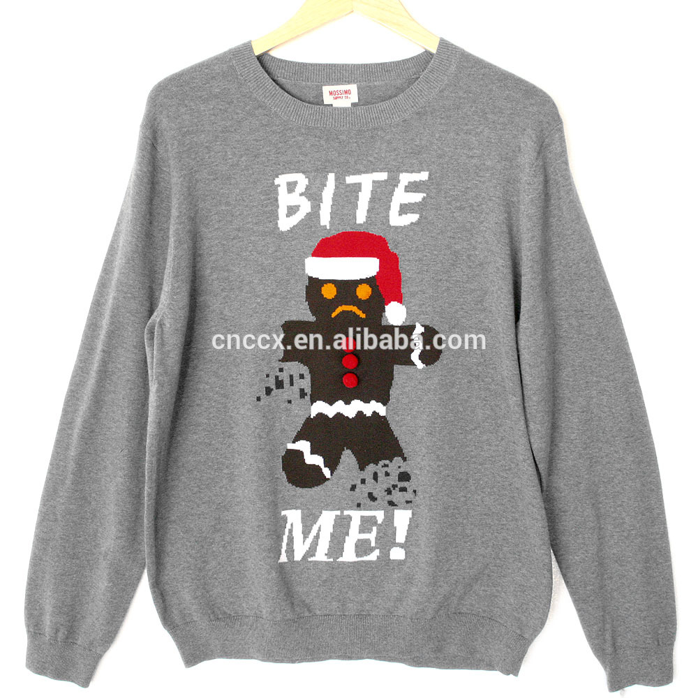PK18ST038 ginger bite me long sleeve christmas jumper for men