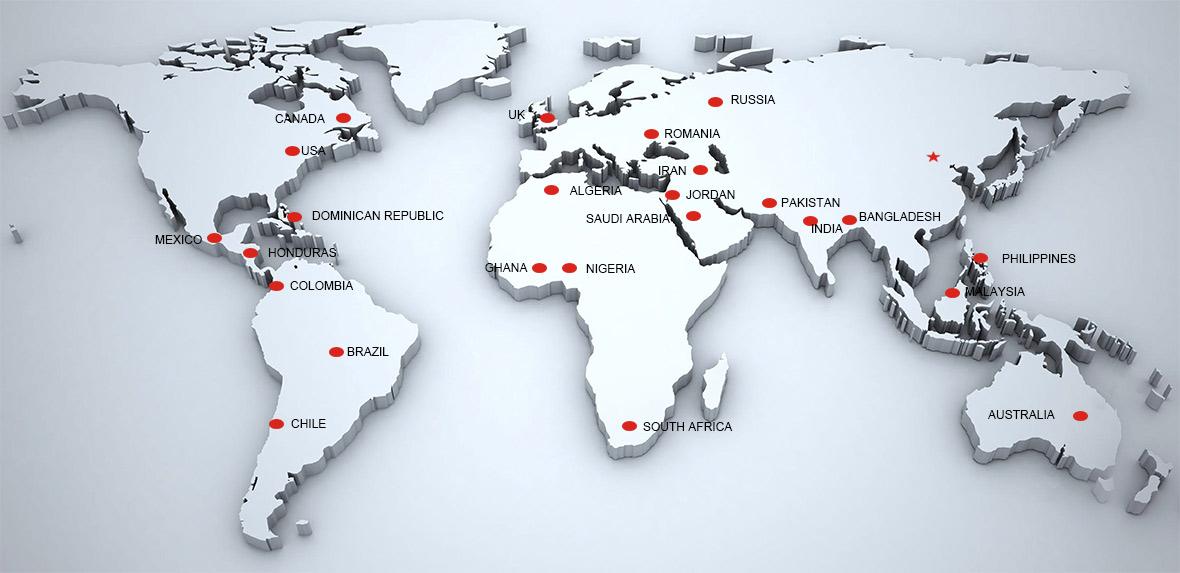 SALES MAP Of JTP MOULD - Huangyan map