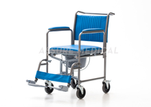 YJ-7100C Commode Chair, Blue seat and back, Foldable