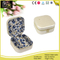 White Shinny PU leather Cover Printing Cotton Inside Jewelry Carrying Case