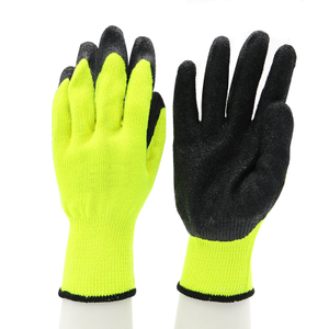 Anti Slip Oil Resistant Poly-cotton Liner Black Latex Safety Gloves To Work