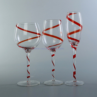 set of 3 vintage crystal long-stem glass wine cup for wedding