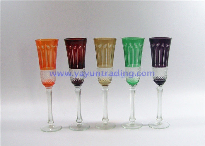 45oz Amber Color Long-stem Glass Champagne Flute for Decoration