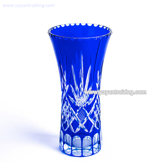 overlay and hand cutting cobalt blue glass vase for artificial flower