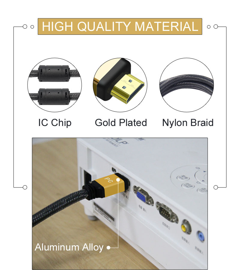 HDMI Cable with Aluminum Alloy Gold Plated