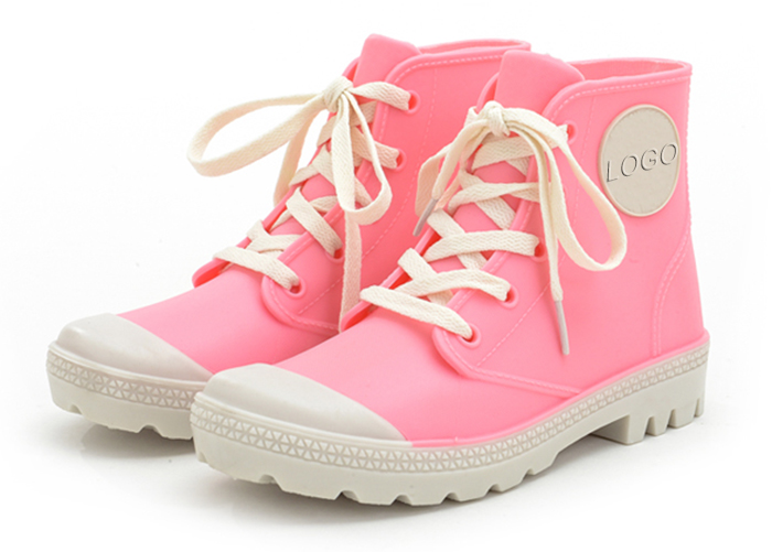 Fashion pink ladies ankle rain boots with lace