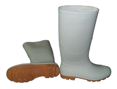 white color PVC rain boots