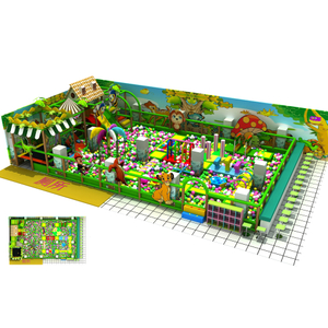 Jungle Theme Kids Soft Play Ball Pit with Trampoline & Slide
