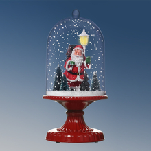 (G17D-R) New Design Snowing Christmas Decoration Plastic Cloche with Santa and Light