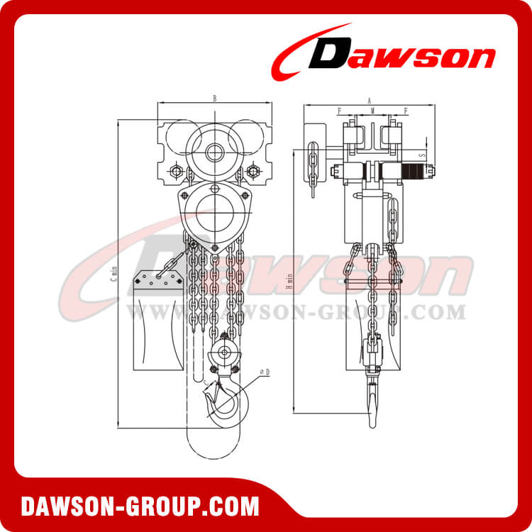 HSS-ZHF type stainless steel chain hoist(Low headroom) - dawson group