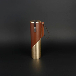 Wine Box Manufacturer Brown PU leather paper wine cylinder box