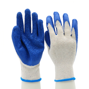 CE EN 388 Anti Slip Poly-cotton Blue Latex Work Gloves Custom Logo
