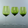 hand made set of 3 green long-stem red wine glass goblet