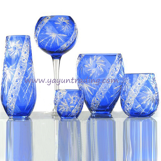 blue glass flower vase
