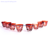 Japanese Edo Kiriko Amber Color Mini Glass Tea Cup Tea Or Glass Bowl