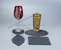 red wine glass with slate tray