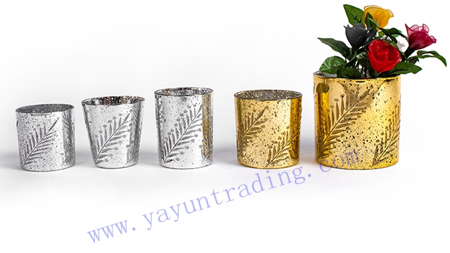 gold and silver electroplated embossed glass candle jar and vase
