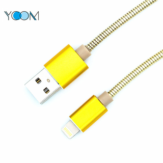 Aluminum Alloy Spring USB Cable for iPhone