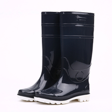 Navy blue color shiny pvc rain boots for men
